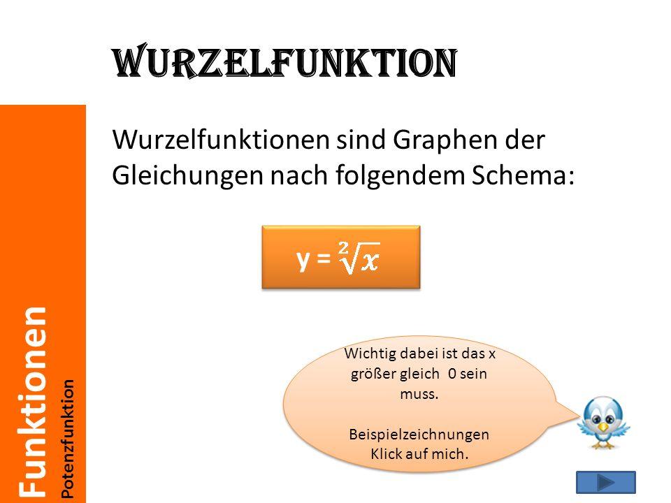 Wurzelfunktion Wurzelfunktionen sind Graphen der Gleichungen nach folgendem Schema: y = Wichtig dabei ist das x größer gleich 0 sein muss.