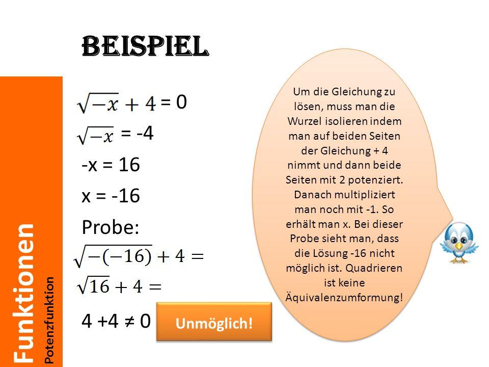 Beispiel = 0 = -4 -x = 16 x = -16 Probe: 4 +4 ≠ 0 Unmöglich!