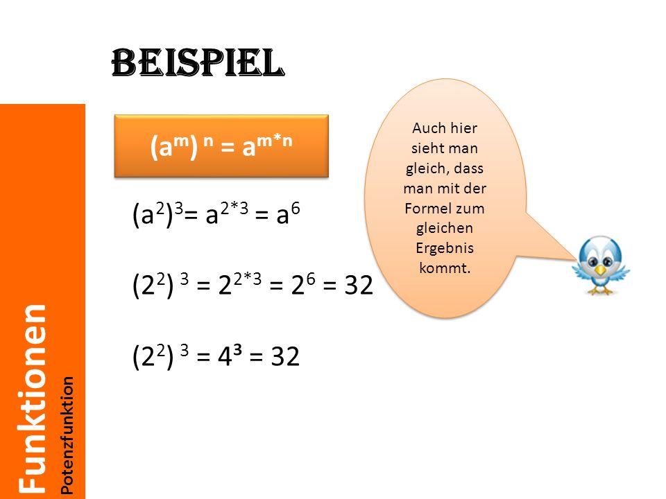 Beispiel Auch hier sieht man gleich, dass man mit der Formel zum gleichen Ergebnis kommt. (am) n = am*n.