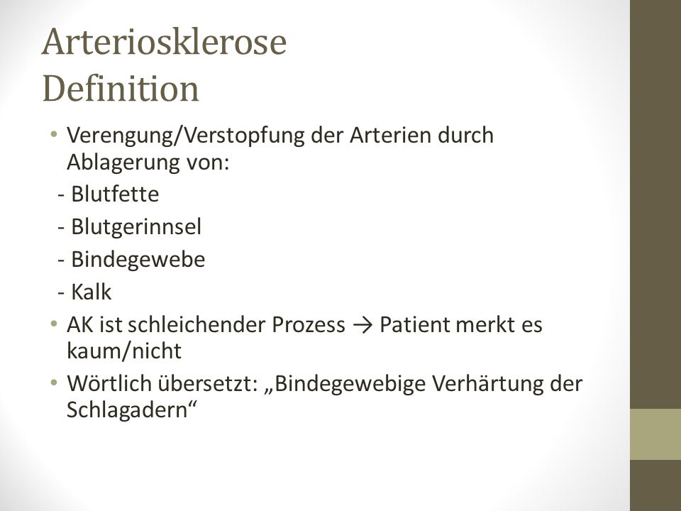 Arteriosklerose Definition