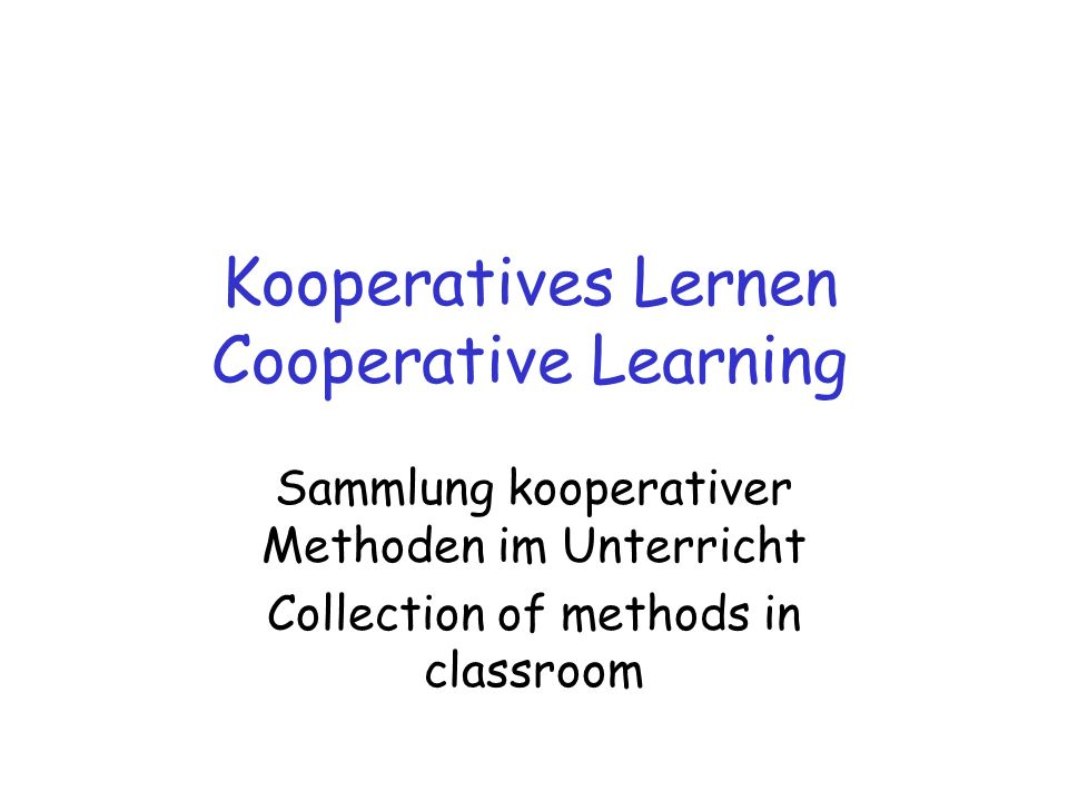 Kooperatives Lernen Cooperative Learning