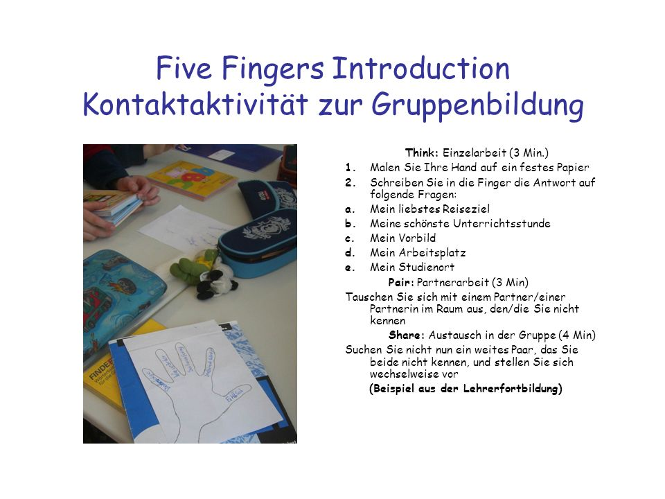 Five Fingers Introduction Kontaktaktivität zur Gruppenbildung