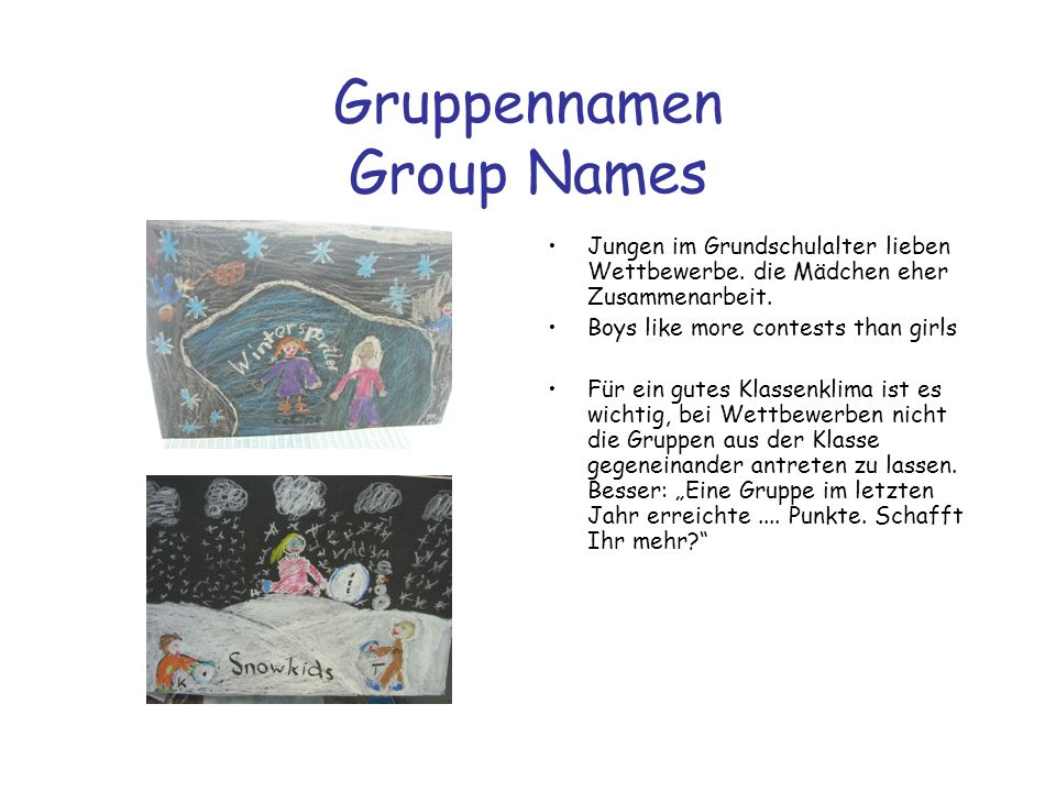 Gruppennamen Group Names