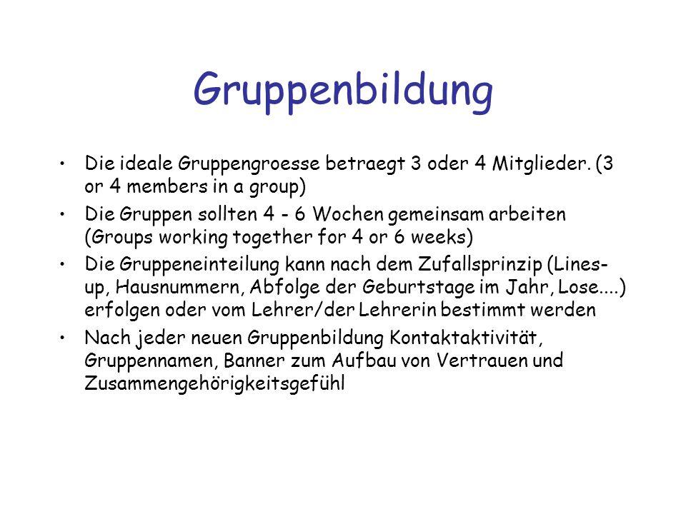 Gruppenbildung Die ideale Gruppengroesse betraegt 3 oder 4 Mitglieder. (3 or 4 members in a group)