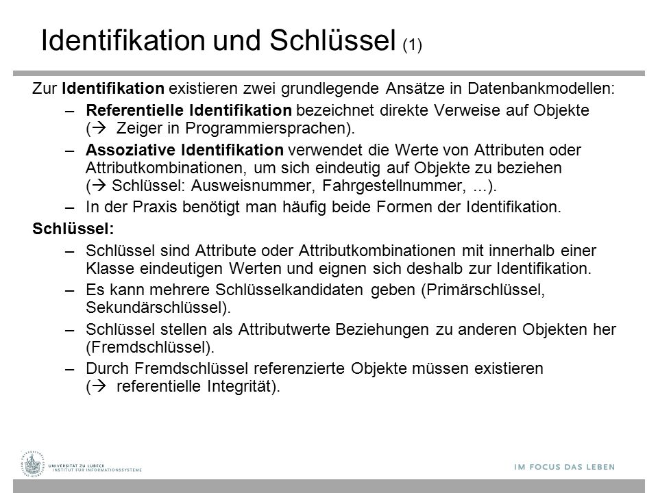 Identifikation und Schlüssel (1)