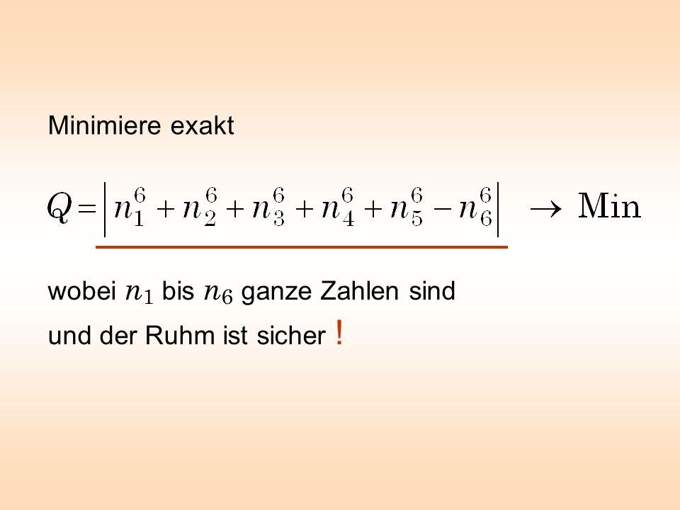 Minimiere exakt wobei n1 bis n6 ganze Zahlen sind und der Ruhm ist sicher !