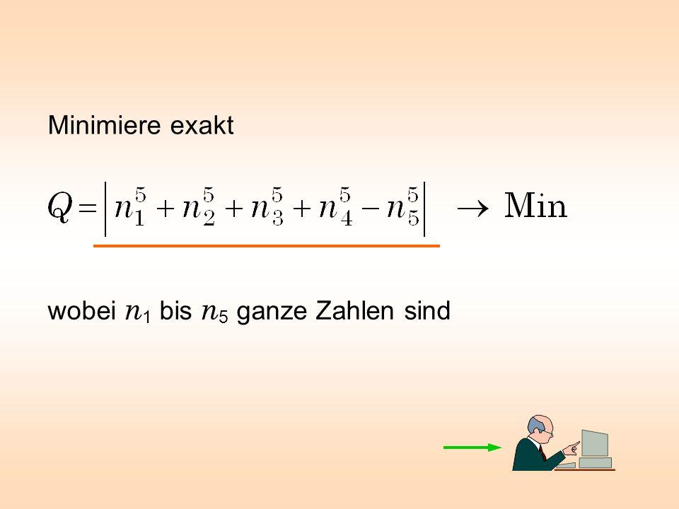 Minimiere exakt wobei n1 bis n5 ganze Zahlen sind