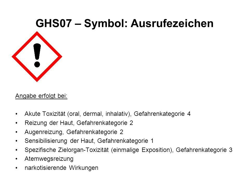 GHS07 – Symbol: Ausrufezeichen