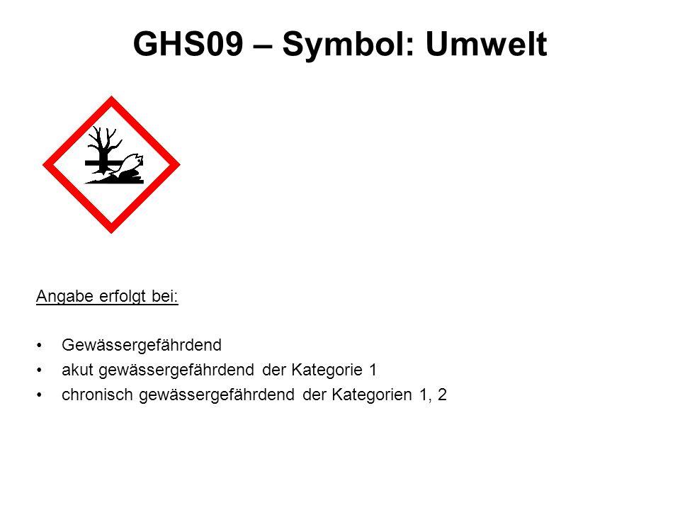 GHS09 – Symbol: Umwelt Angabe erfolgt bei: Gewässergefährdend