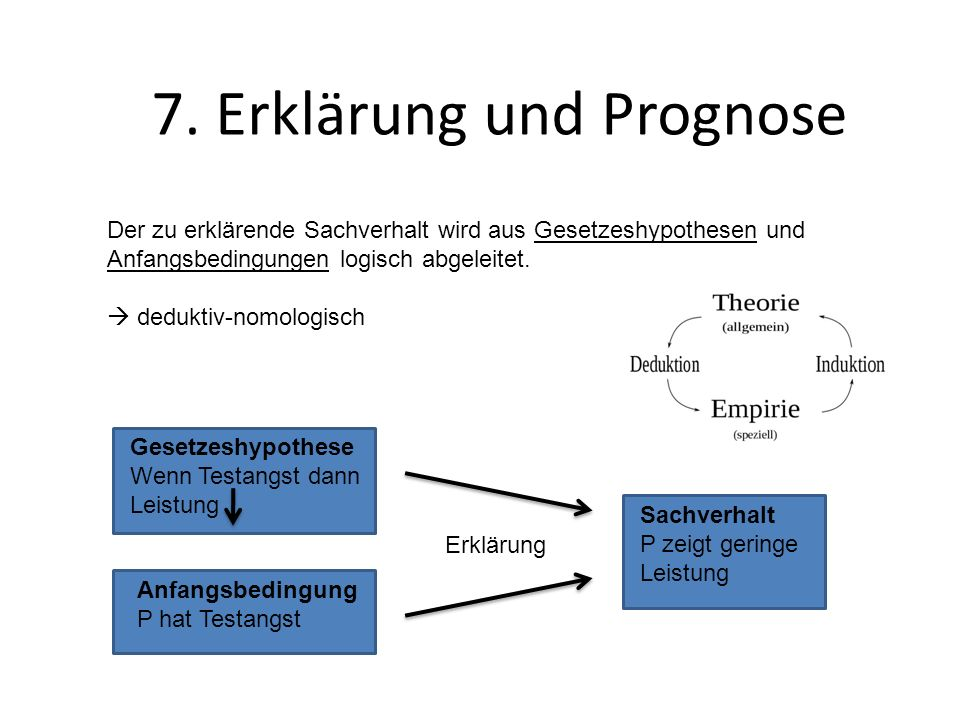 7. Erklärung und Prognose