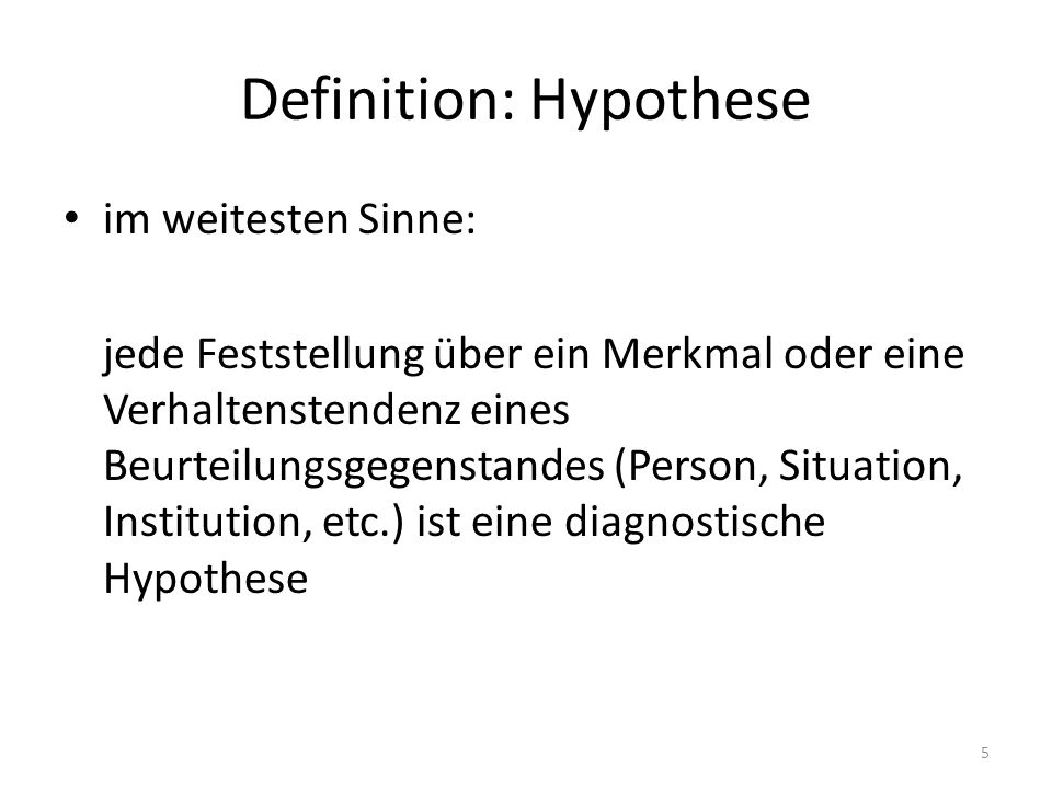 Definition: Hypothese