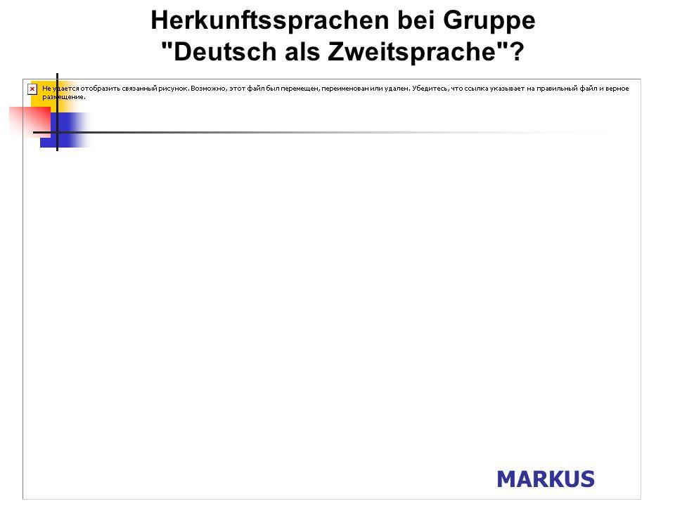 Herkunftssprachen bei Gruppe Deutsch als Zweitsprache