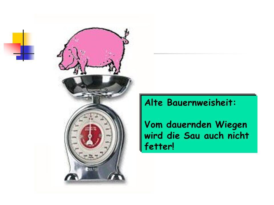 Alte Bauernweisheit: Vom dauernden Wiegen wird die Sau auch nicht fetter!