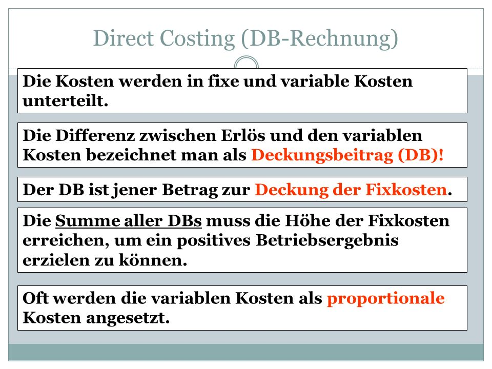 Direct Costing (DB-Rechnung)