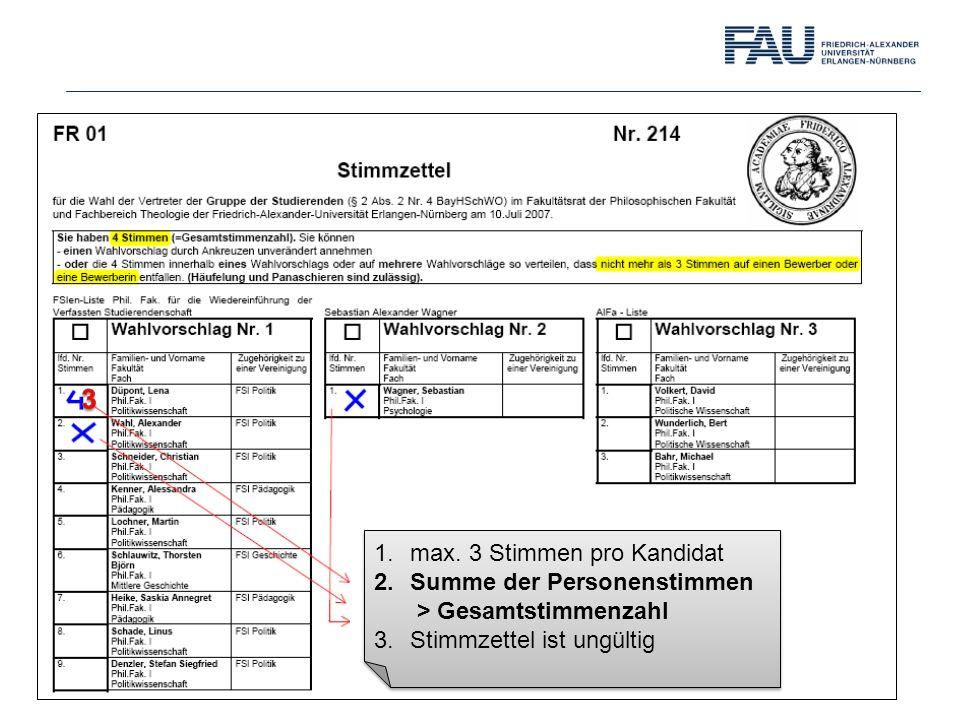 3 max. 3 Stimmen pro Kandidat