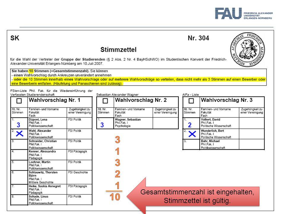 Gesamtstimmenzahl ist eingehalten, Stimmzettel ist gültig.