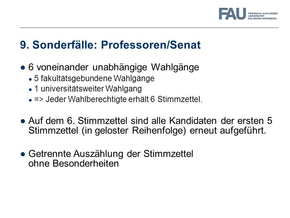 9. Sonderfälle: Professoren/Senat