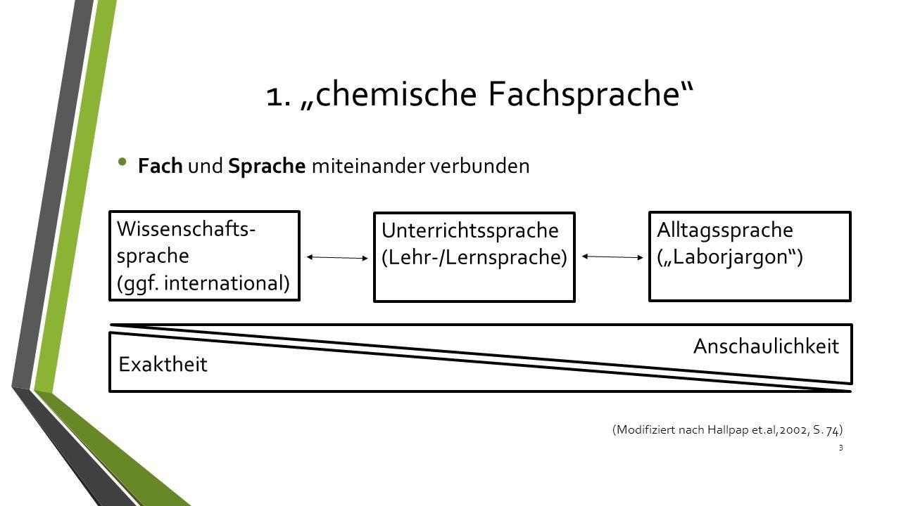 """1. """"chemische Fachsprache"""