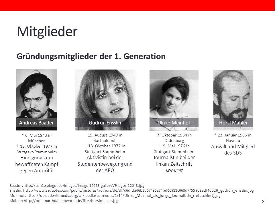 Mitglieder Gründungsmitglieder der 1. Generation Andreas Baader