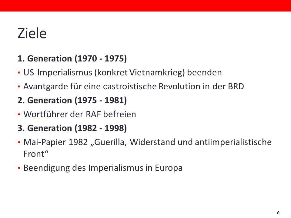 Ziele 1. Generation (1970 - 1975) US-Imperialismus (konkret Vietnamkrieg) beenden. Avantgarde für eine castroistische Revolution in der BRD.