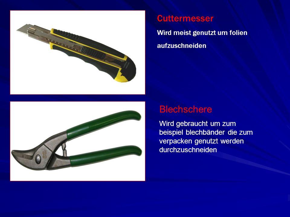 Cuttermesser Blechschere Wird meist genutzt um folien aufzuschneiden