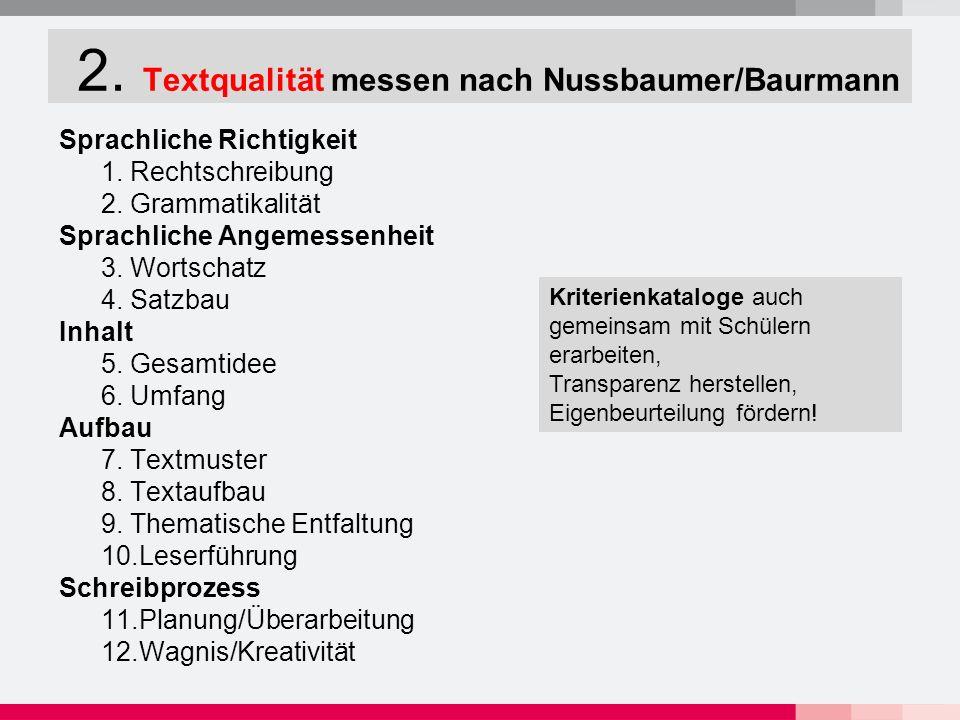 2. Textqualität messen nach Nussbaumer/Baurmann