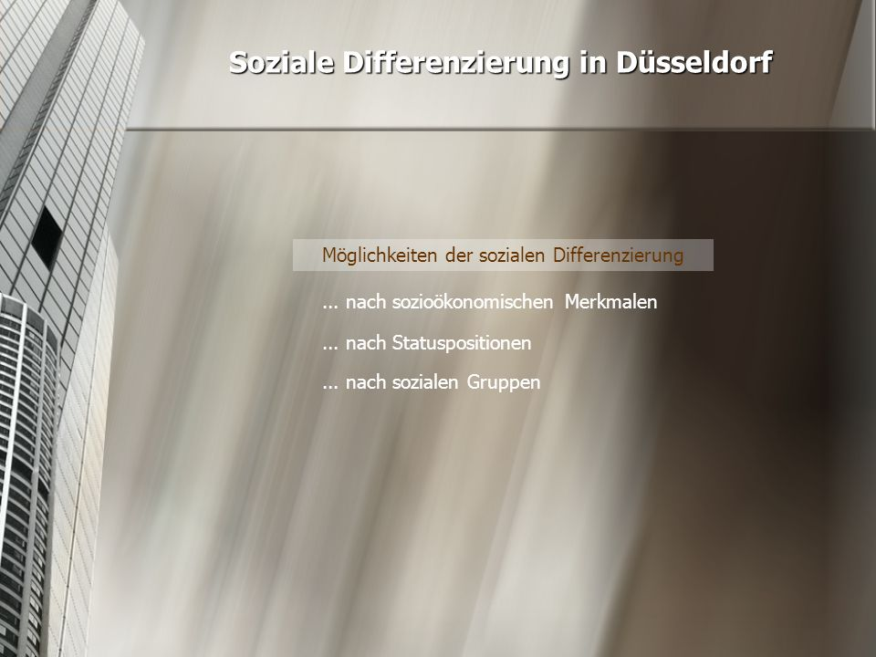 Soziale Differenzierung in Düsseldorf