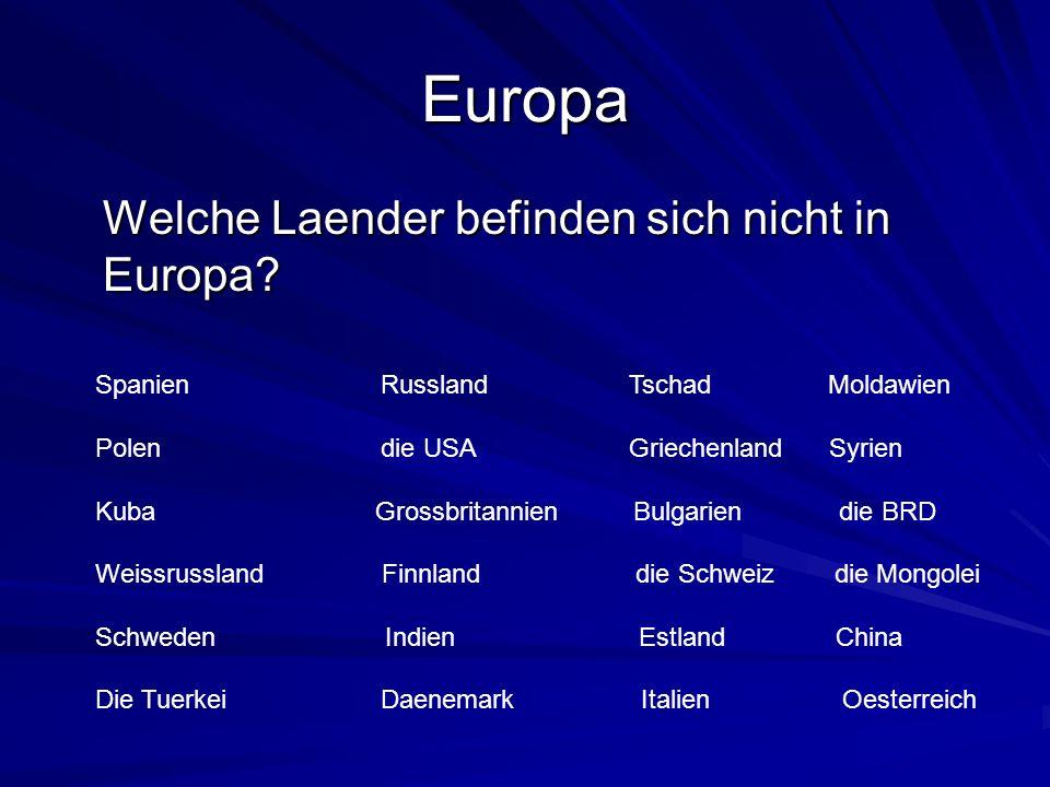 Europa Welche Laender befinden sich nicht in Europa