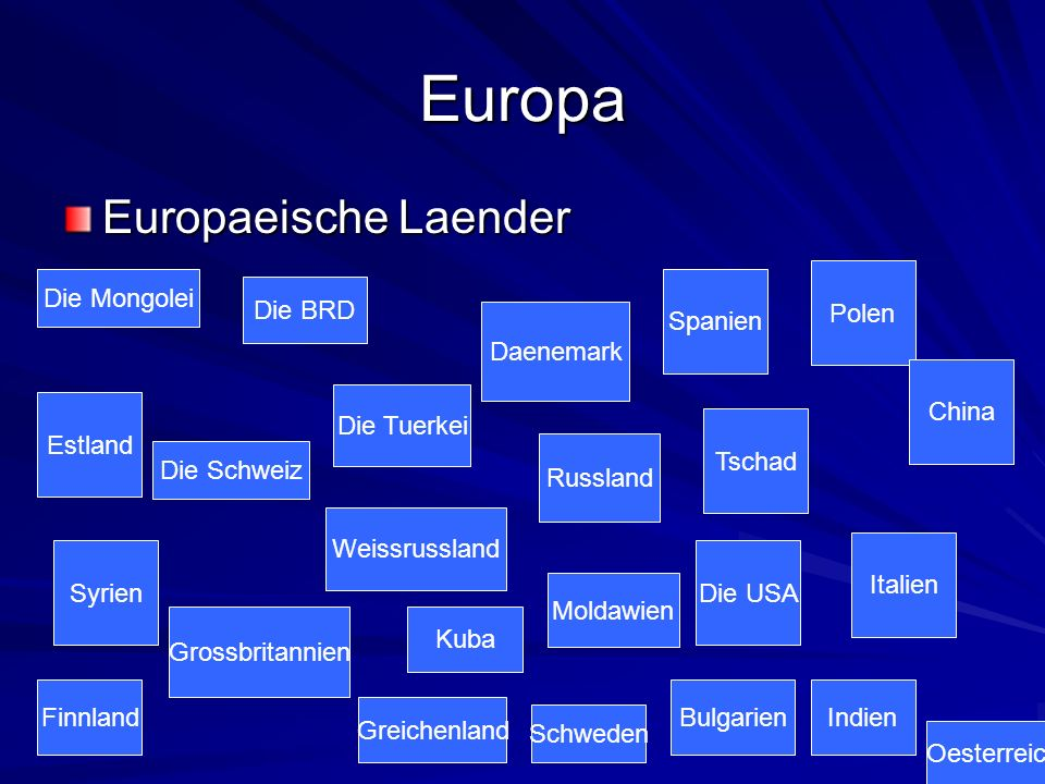Europa Europaeische Laender Polen Die Mongolei Spanien Die BRD