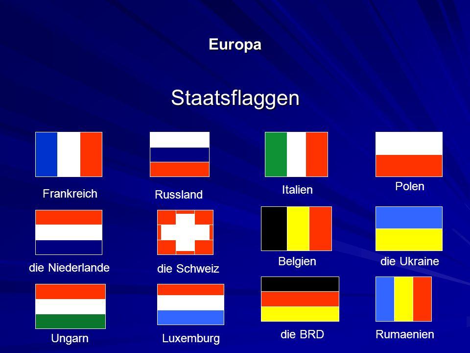 Staatsflaggen Europa Polen Italien Frankreich Russland Belgien