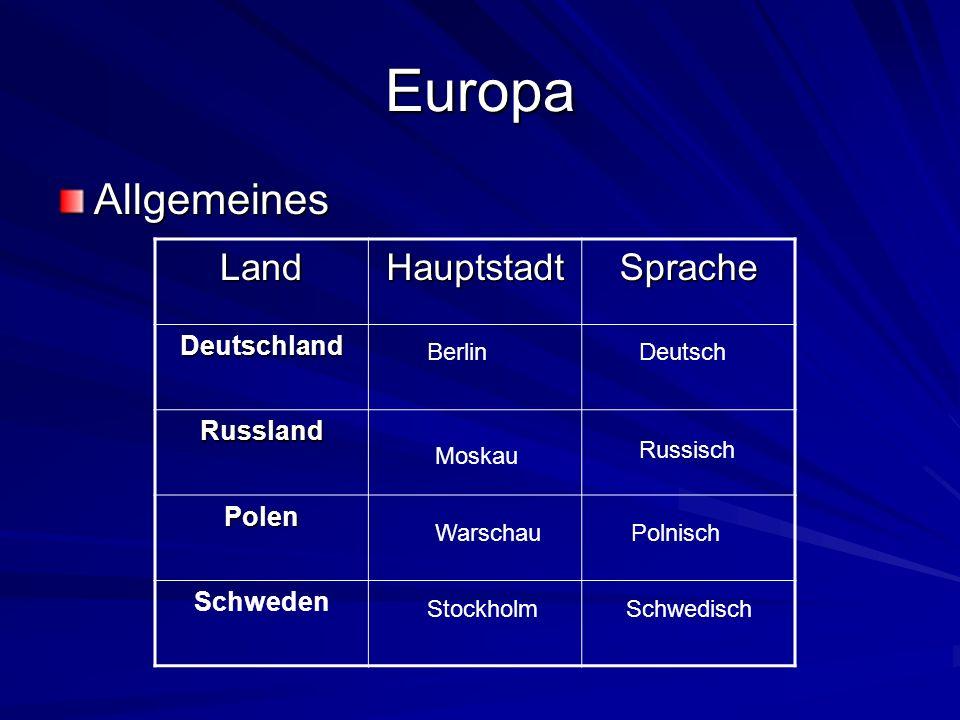 Europa Allgemeines Land Hauptstadt Sprache Deutschland Russland Polen