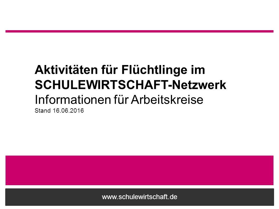 Aktivitäten für Flüchtlinge im SCHULEWIRTSCHAFT-Netzwerk