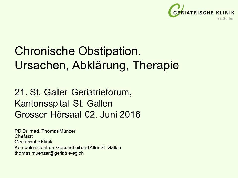 Chronische Obstipation. Ursachen, Abklärung, Therapie
