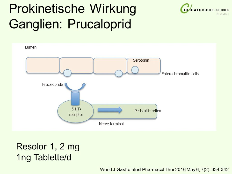 Prokinetische Wirkung Ganglien: Prucaloprid