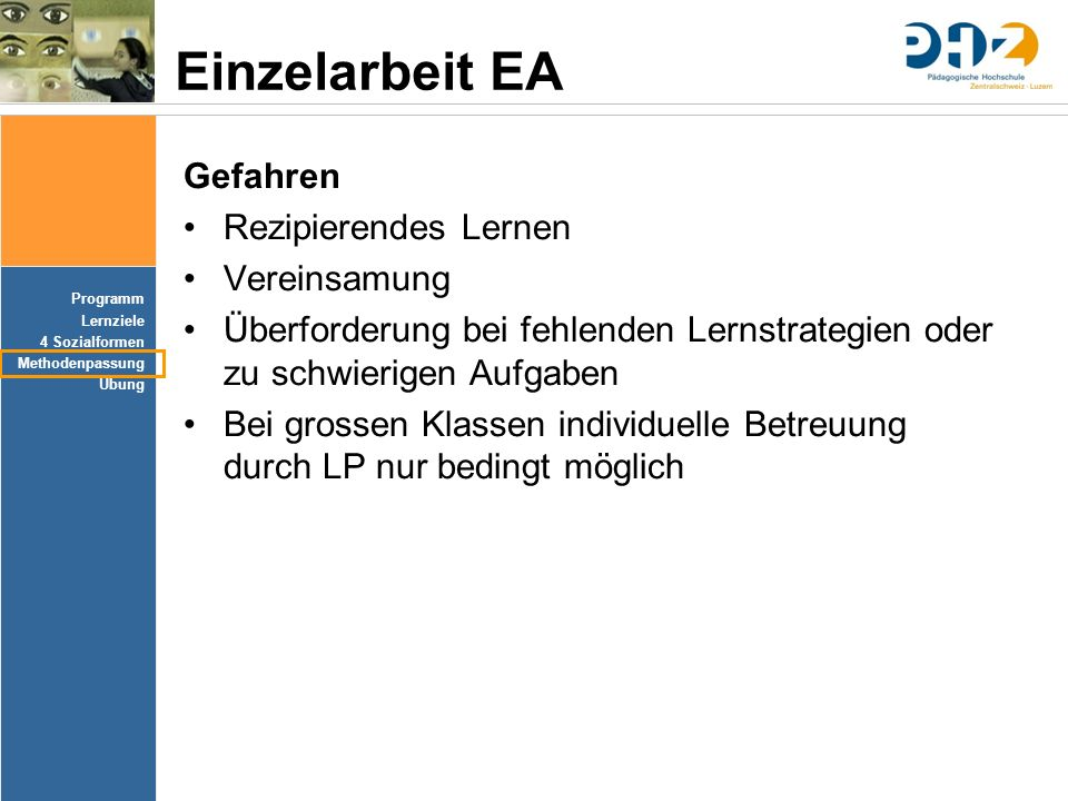 Einzelarbeit EA Gefahren Rezipierendes Lernen Vereinsamung