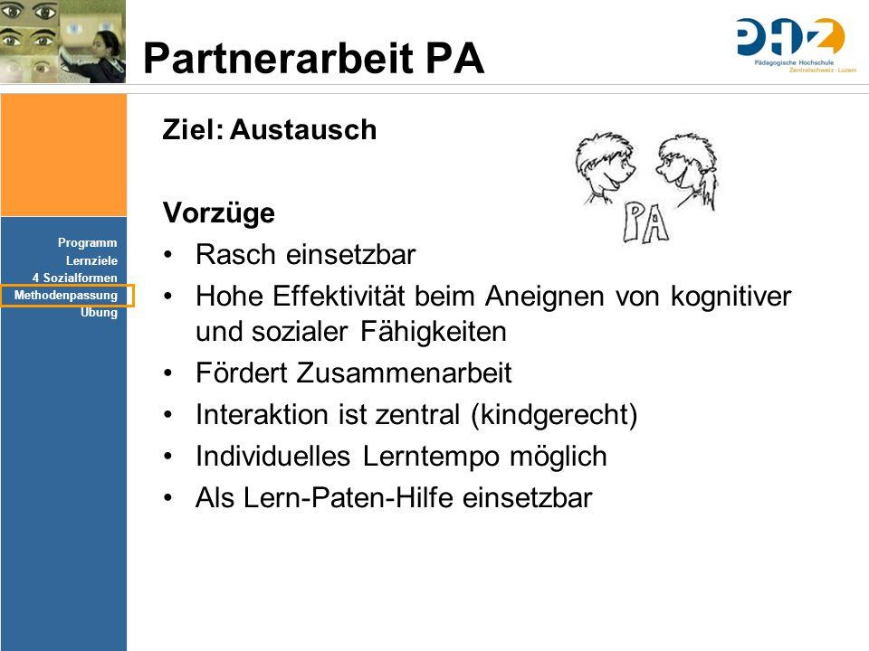 Partnerarbeit PA Ziel: Austausch Vorzüge Rasch einsetzbar