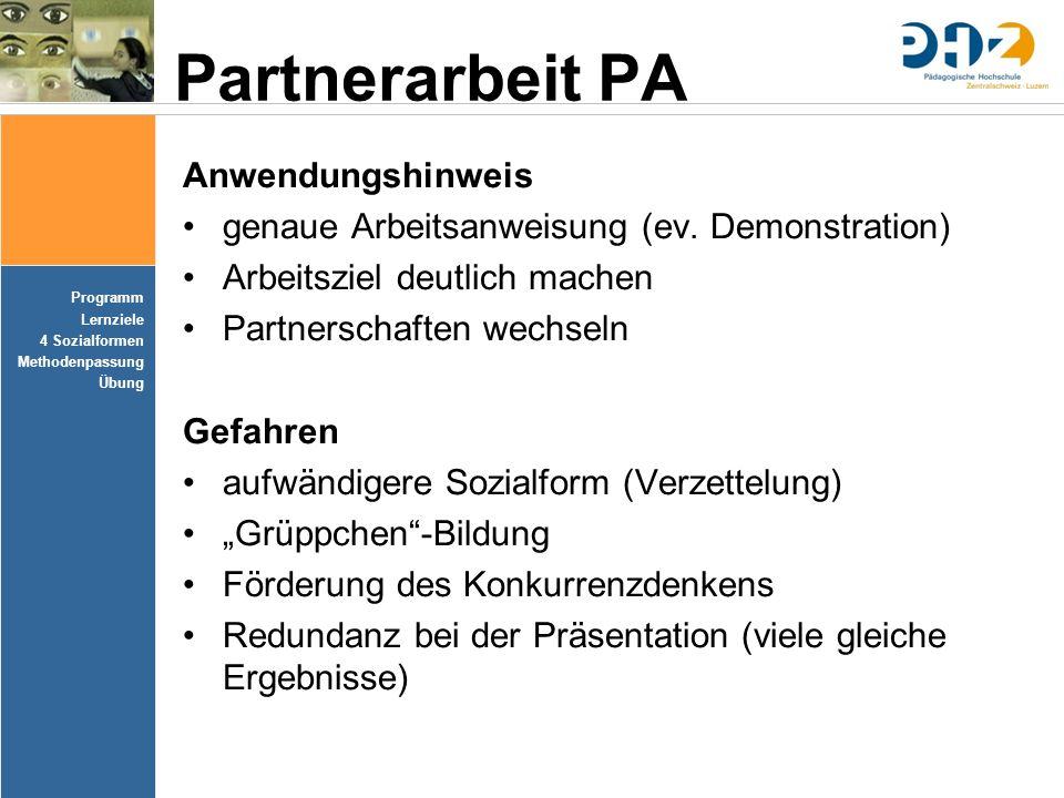 Partnerarbeit PA Anwendungshinweis