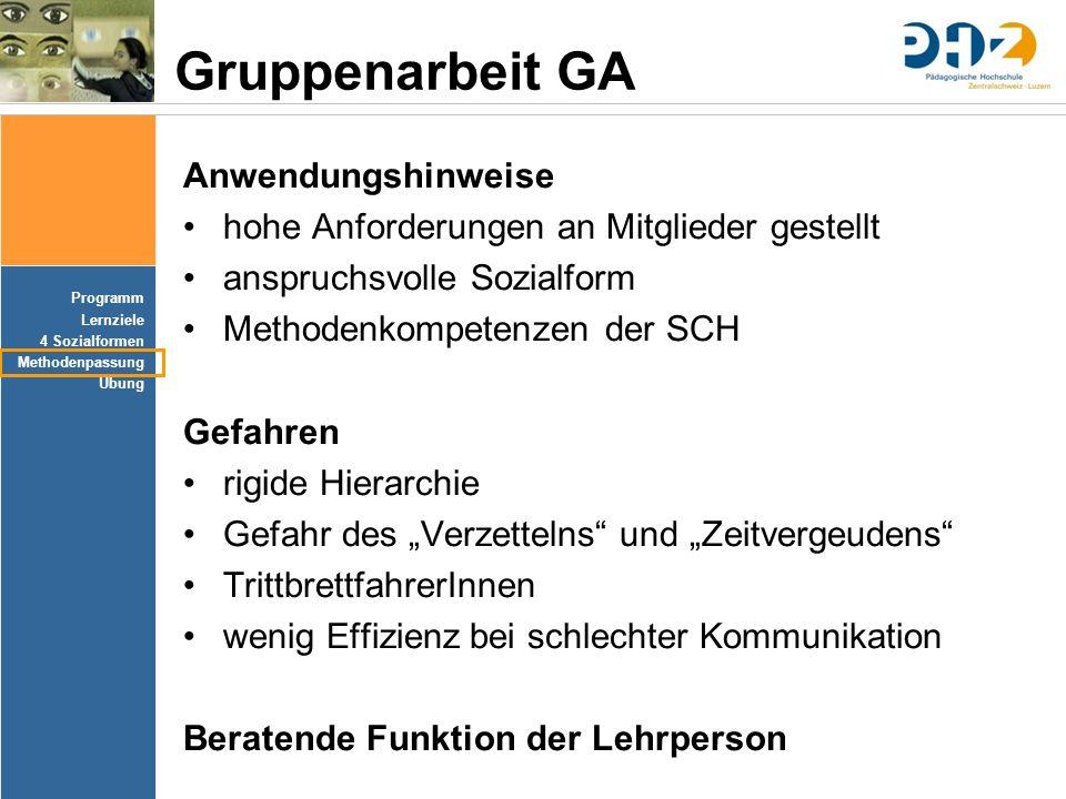 Gruppenarbeit GA Anwendungshinweise