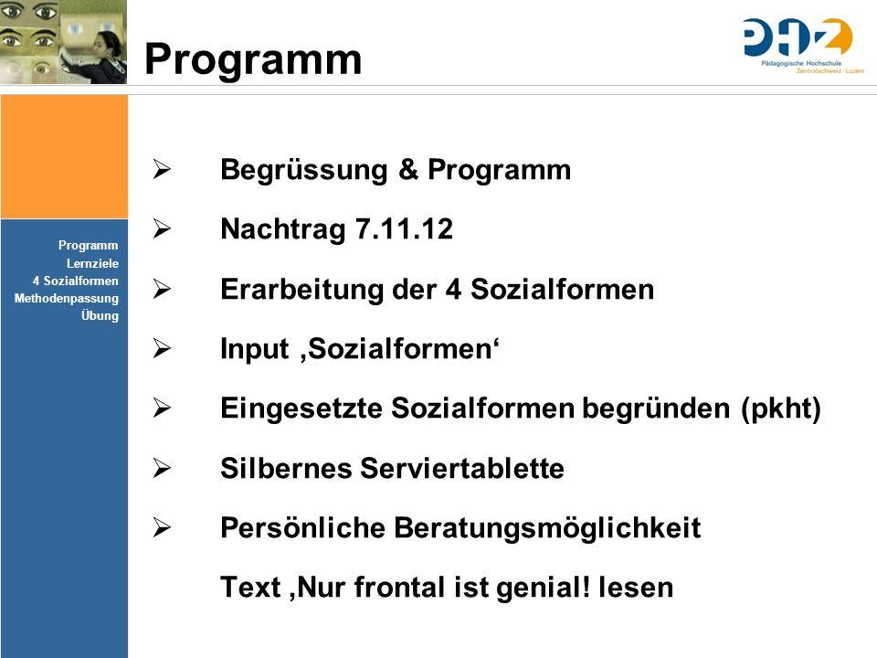 Programm Begrüssung & Programm Nachtrag 7.11.12