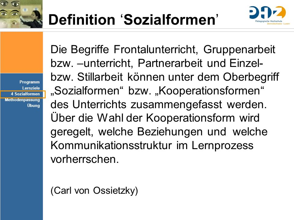 Definition 'Sozialformen'
