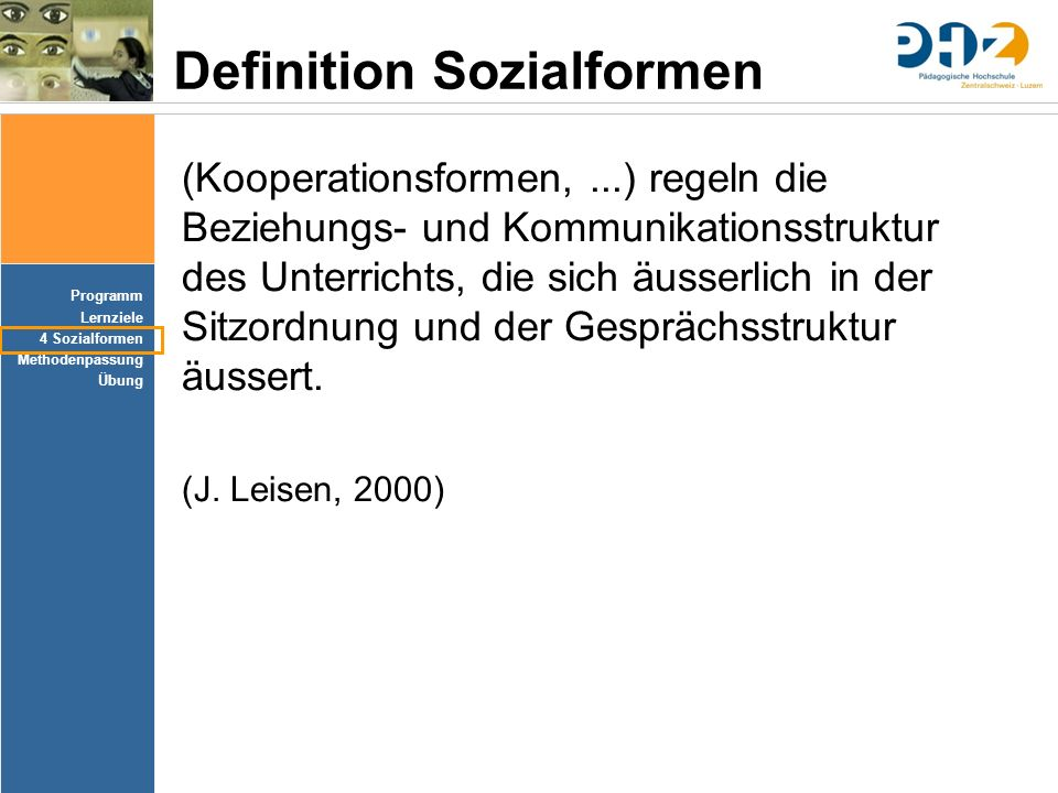 Definition Sozialformen