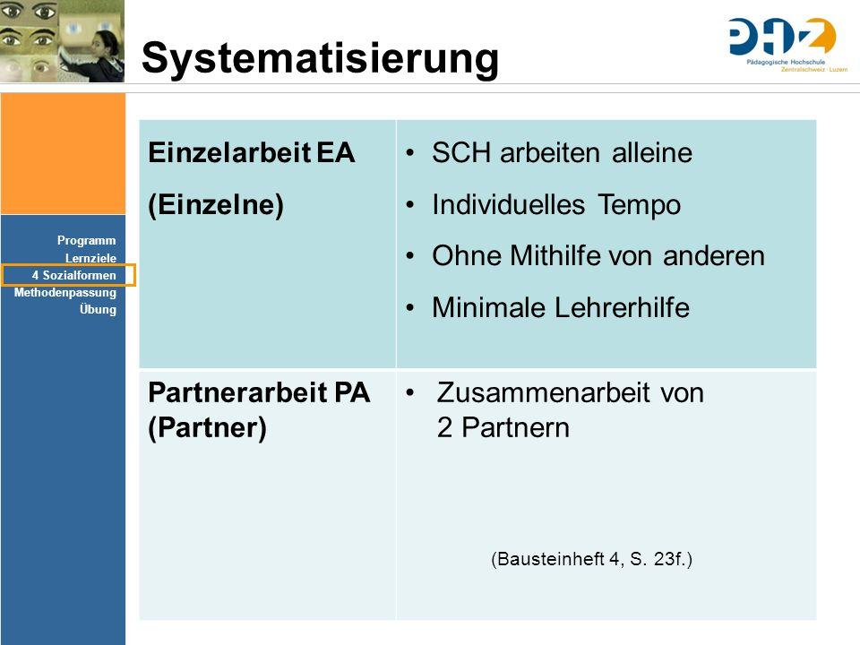 Systematisierung Einzelarbeit EA (Einzelne) SCH arbeiten alleine