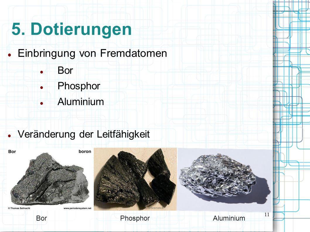 5. Dotierungen Einbringung von Fremdatomen Bor Phosphor Aluminium