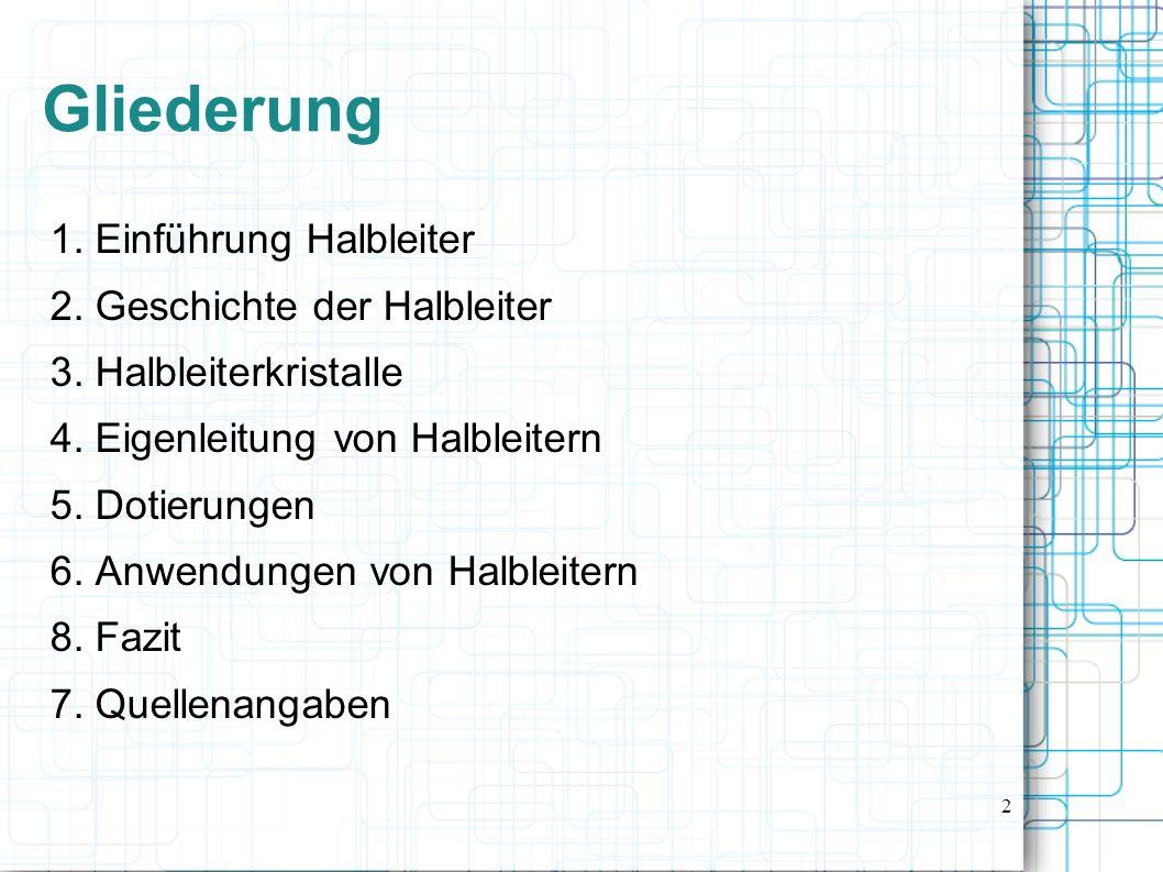 Gliederung 1. Einführung Halbleiter 2. Geschichte der Halbleiter
