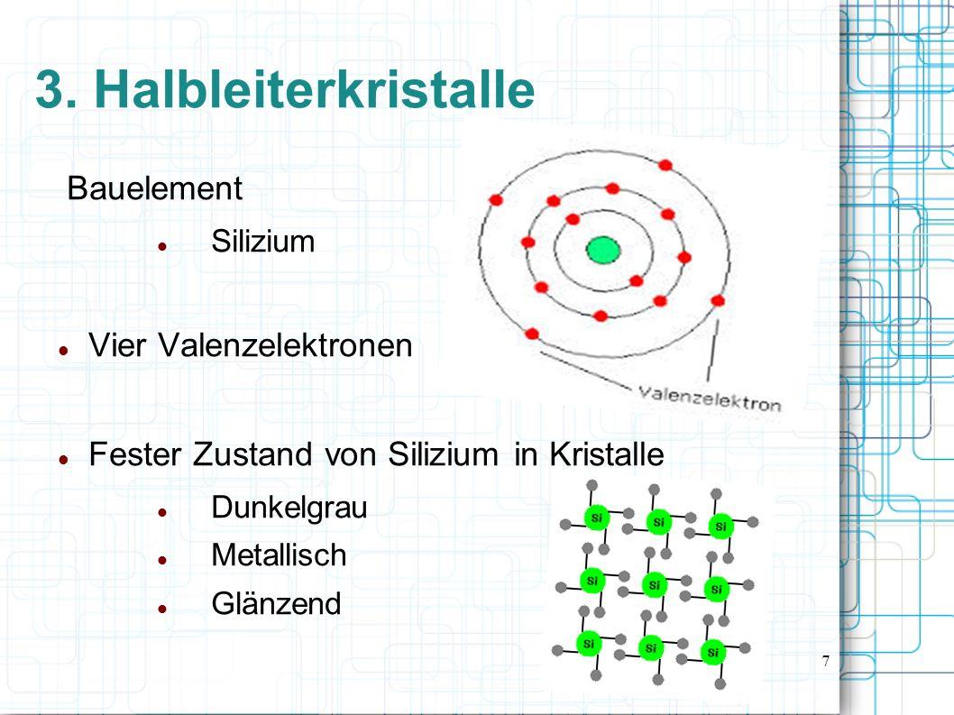 3. Halbleiterkristalle Bauelement Vier Valenzelektronen