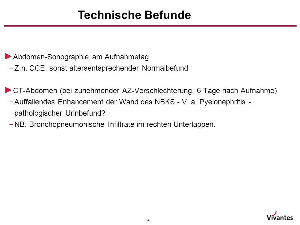 Technische Befunde Abdomen-Sonographie am Aufnahmetag