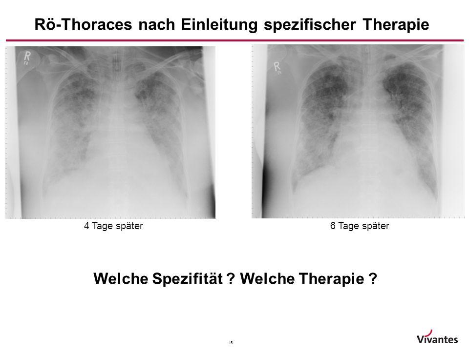 Rö-Thoraces nach Einleitung spezifischer Therapie