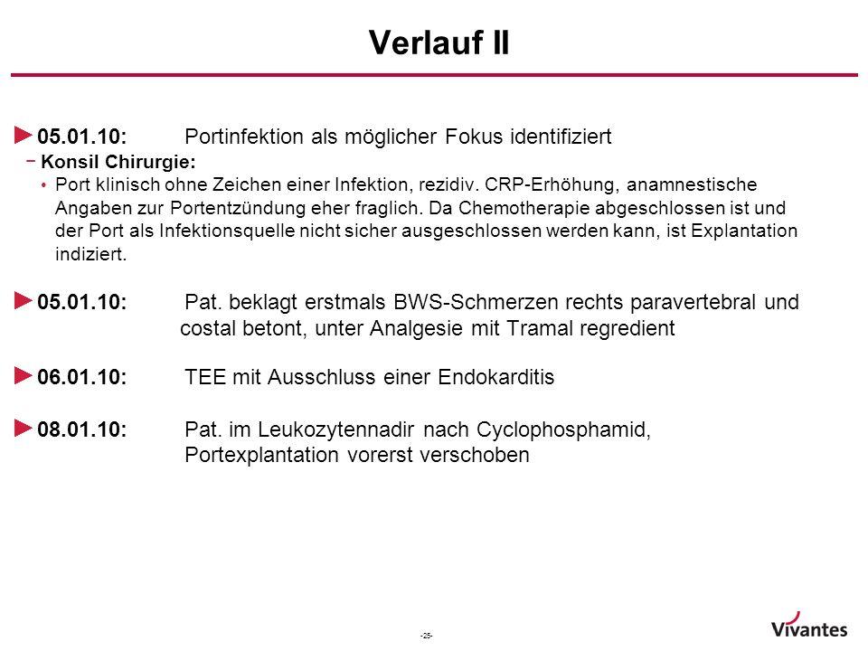 Verlauf II 05.01.10: Portinfektion als möglicher Fokus identifiziert