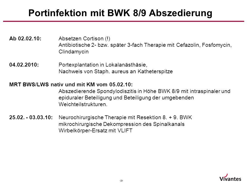 Portinfektion mit BWK 8/9 Abszedierung