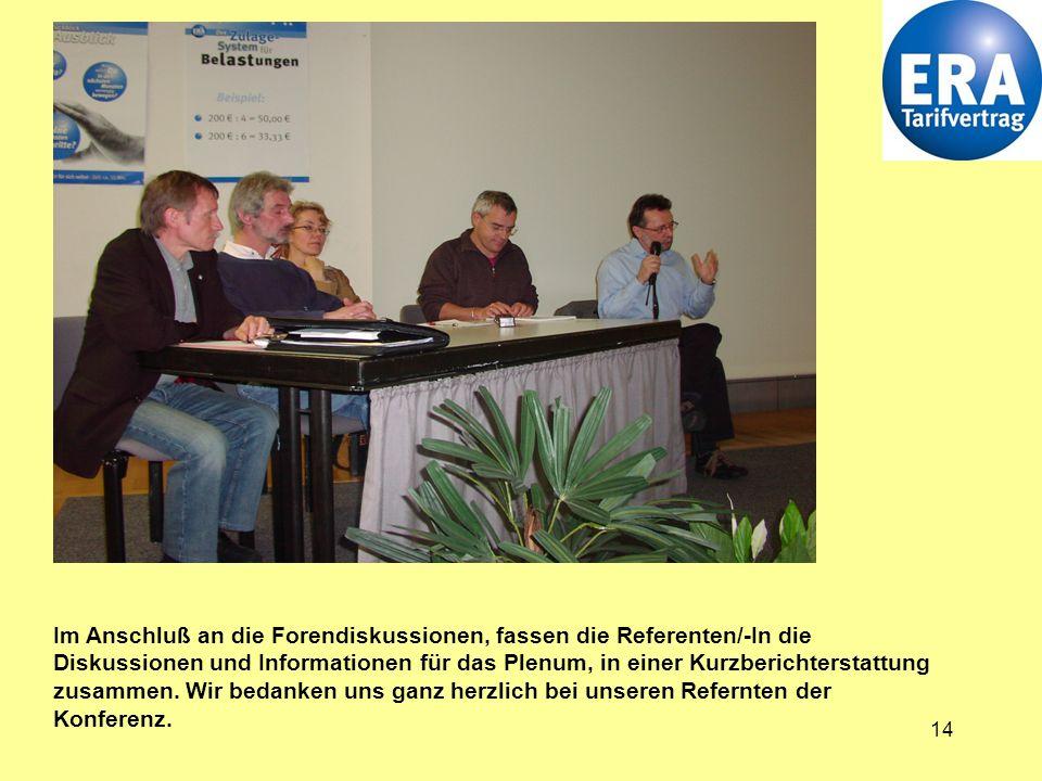 Im Anschluß an die Forendiskussionen, fassen die Referenten/-In die Diskussionen und Informationen für das Plenum, in einer Kurzberichterstattung zusammen.